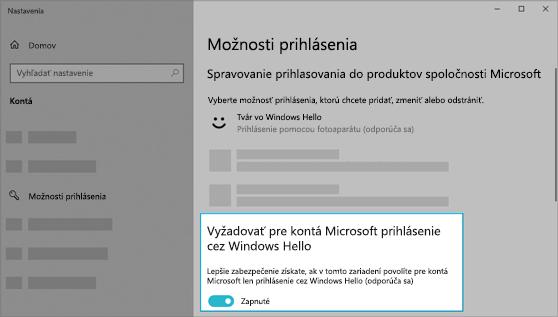 Možnosť využiť Windows Hello na prihlásenie sa do kont Microsoft je zapnutá.