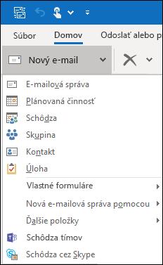 Skryté príkazy môžete nájsť kliknutím na šípku dropdow.