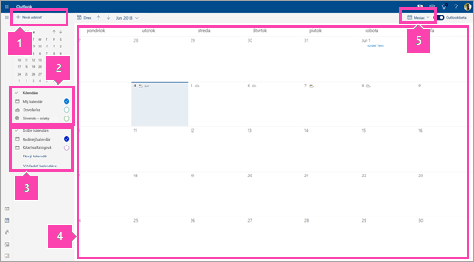 Snímka obrazovky rozhrania Kalendár