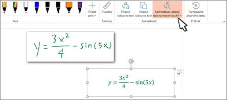 Rukou napísaná rovnica atá istá rovnica konvertovaná na formátovaný text ačísla