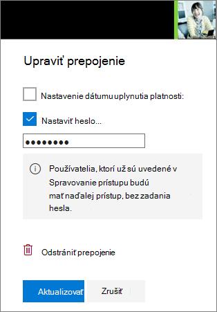 Snímka obrazovky upraviť prepojenie nastavenie