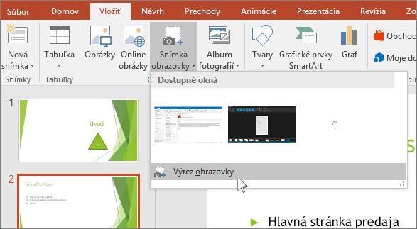 rozbaľovacia ponuka výrezu obrazovky v powerpointe