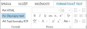 Možnosti formátov správy na karte Formátovať text