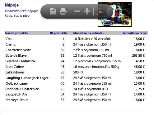 Vložený PDF súbor skatalógom produktov zobrazený vaplikácii PDF Reader
