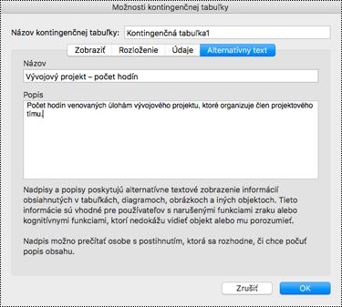 Dialógové okne Alternatívny text pre excelovú kontingenčnú tabuľku