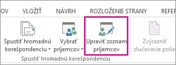 Snímka obrazovky s kartou Korešpondencia vo Worde zobrazujúca zvýraznený príkaz Upraviť zoznam príjemcov.