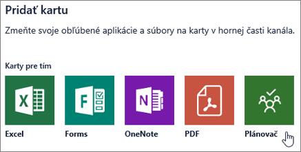 Snímka obrazovky s dialógovým oknom Pridať kartu v aplikácii Teams