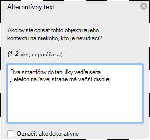Tabla alternatívny text v Exceli pre Mac