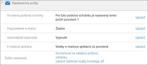 Snímka obrazovky: Konverzia poštovej schránky používateľa na zdieľanú poštovú schránku