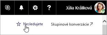 Snímka obrazovky stlačidlom Sledovať na lokalite SharePoint.