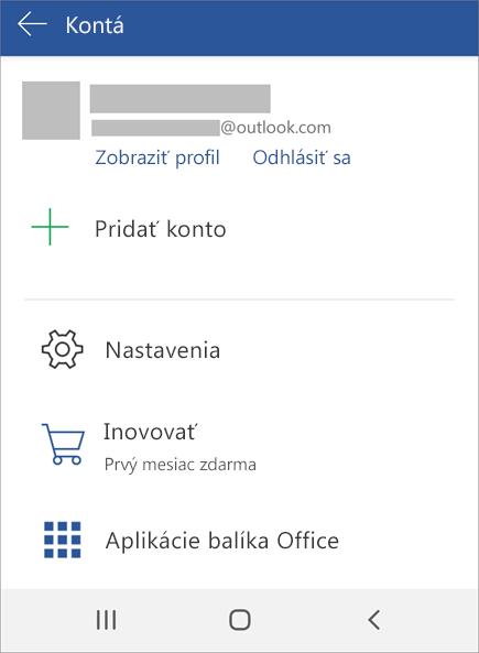 Zobrazuje možnosť Odhlásiť sa z Office v zariadení s Androidom