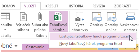 Pridanie tabuľkového hárka po kliknutí na kartu Vložiť