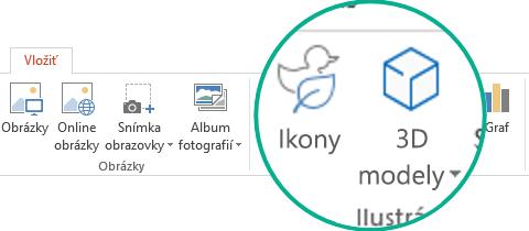 Tlačidlá ikôn a3D modelov na karte Vložiť na páse snástrojmi vslužbách Office 365