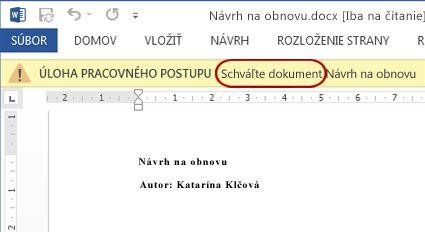 Položka na revíziu s textom Vykonajte revíziu dokumentu