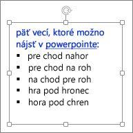 Formátovanie v textovom poli PowerPointu