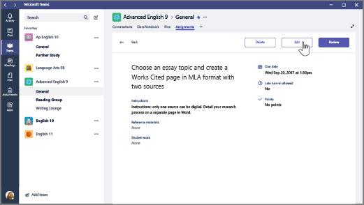 Vyberte položku Assignment (Úloha) apotom položku Edit (Upraviť).
