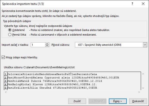 Excel, Získať externé údaje z textu, Sprievodca importom textu, krok 1 z 3