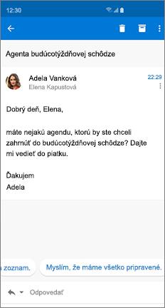 E-mailová správa s dvomi navrhovanými odpoveďami