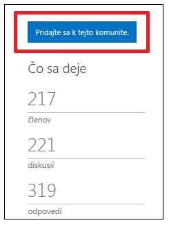 snímka obrazovky s tlačidlom Pripojiť sa k tejto komunite
