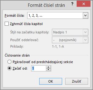 Zobrazenie možností vdialógovom okne Formát čísiel strán.