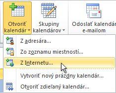 Príkaz na otvorenie kalendára zInternetu na páse snástrojmi