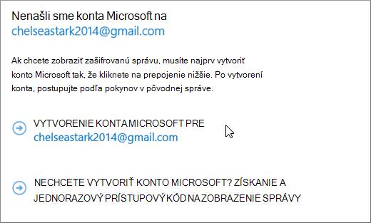 Vytvorenie konta Microsoft