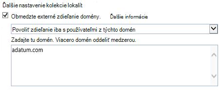 Snímka obrazovky s obmedzením domény časť Nastavenie kolekcie lokalít dialógové okno.
