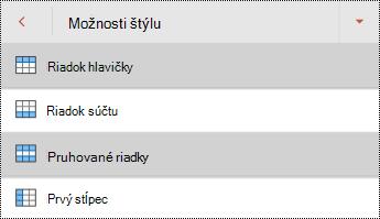 Ponuka štýlov riadkov hlavičky tabuľky v PowerPointe pre Android.