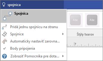 Snímka obrazovky nástroja Povedzte, čo chcete urobiť, sozobrazením výsledkov pre Pripojenie.