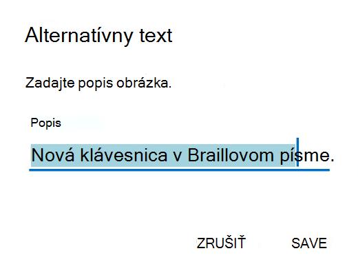 Dialógové okno Alternatívny text v Outlooku pre Android.
