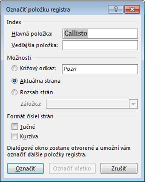 Dialógové okno Označiť položku registra