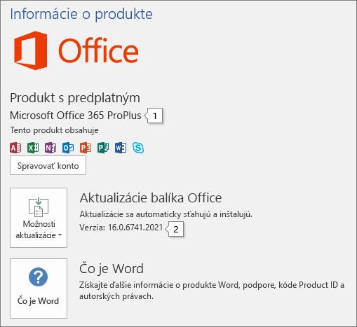 Snímka obrazovky Konto zobrazujúca názov produktu Office aúplné číslo verzie