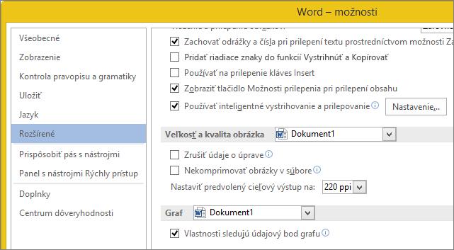 Možnosti Wordu pre veľkosť akvalitu obrázka