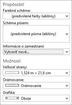Snímka obrazovky výberu možností aprispôsobenia vPublisheri.