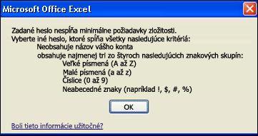 Chybové hlásenie, keď heslo obsahuje príliš málo znakov