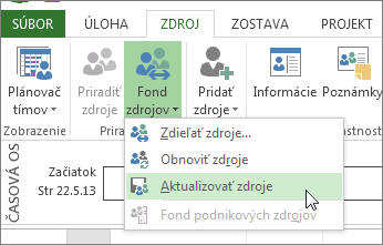 Aktualizácia fondu zdrojov po úprave zdrojov v súbore zdieľajúceho
