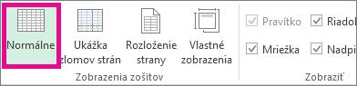 Na karte Zobraziť kliknite na položku Normálne