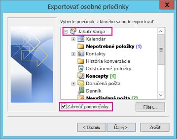 Vyberte e-mailové konto, ktoré chcete exportovať.