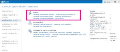 Snímka obrazovky s centrom spravovania služby SharePoint Online s vybratou stránkou používateľských profilov.