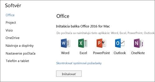 Obrazovka inštalácie softvéru s Nastaveniami služieb Office 365 v Macu