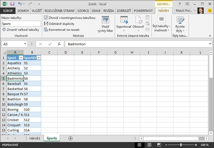 Pomenovanie tabuľky v Exceli