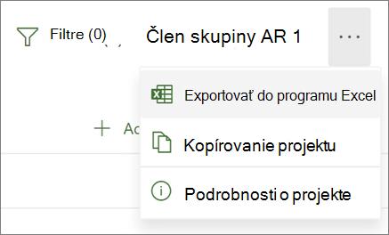 Snímka obrazovky ponuky vProjecte pre web so zobrazením možnosti Exportovať do Excelu