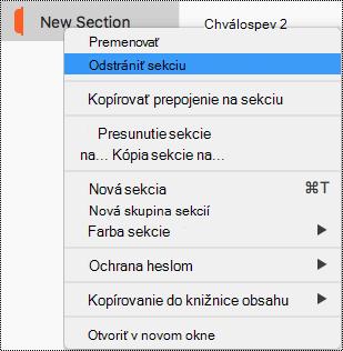 Kontextová ponuka sekcie v Macu so zvýraznenou časťou Odstrániť sekciu.