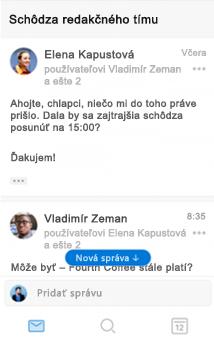 Novinky vkonverzácii vOutlooku pre iOS