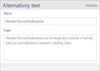 Snímka obrazovky sdialógovým oknom alternatívneho textu voWorde Mobile, ktoré obsahuje polia Názov aPopis.
