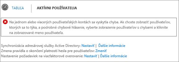 Výkaz chýb synchronizácie adresárov v hornej časti stránky aktívnych používateľov