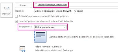 Pozvánka na externé zdieľanie e-mailov z poštovej schránky – pole Komu a nastavenie Podrobnosti