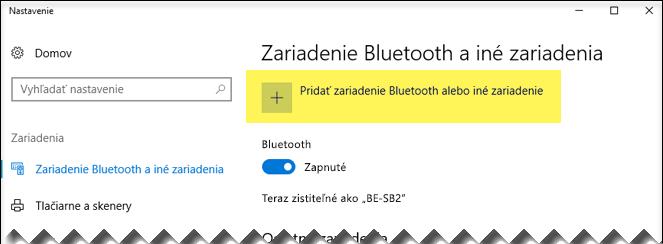Pridanie zariadenia Bluetooth