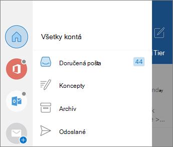 Pridanie kont v Outlooku Mobile