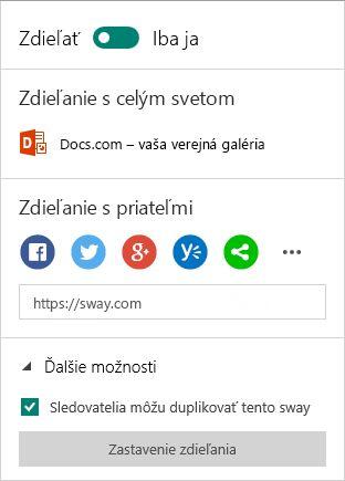 Možnosti zdieľania v Swayi (konto Microsoft)
